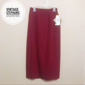 Vintage Stephanie Andrews NWT Maroon Small Skirt 4